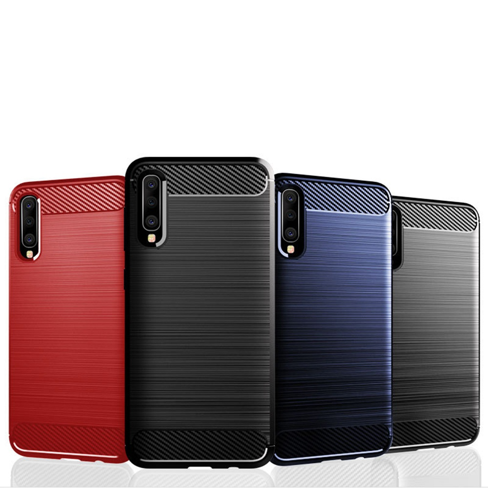 For Samsung Galaxy A50 Carbon Fiber Case TPU Luxury Coque For Samsung Galaxy Phone Ultra Thin Silcone Protector Hard Back Covers in Fitted Cases from Cellphones Telecommunications