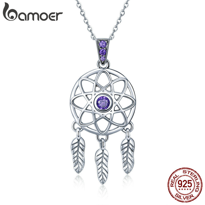 BAMOER Genuine 925 Sterling Silver Vintage Dream Catcher Necklaces Pendants for Women Fashion Necklace Silver Jewelry SCN279 925 sterling silver diamond dream catcher necklace fashion simple clavicle chain c03