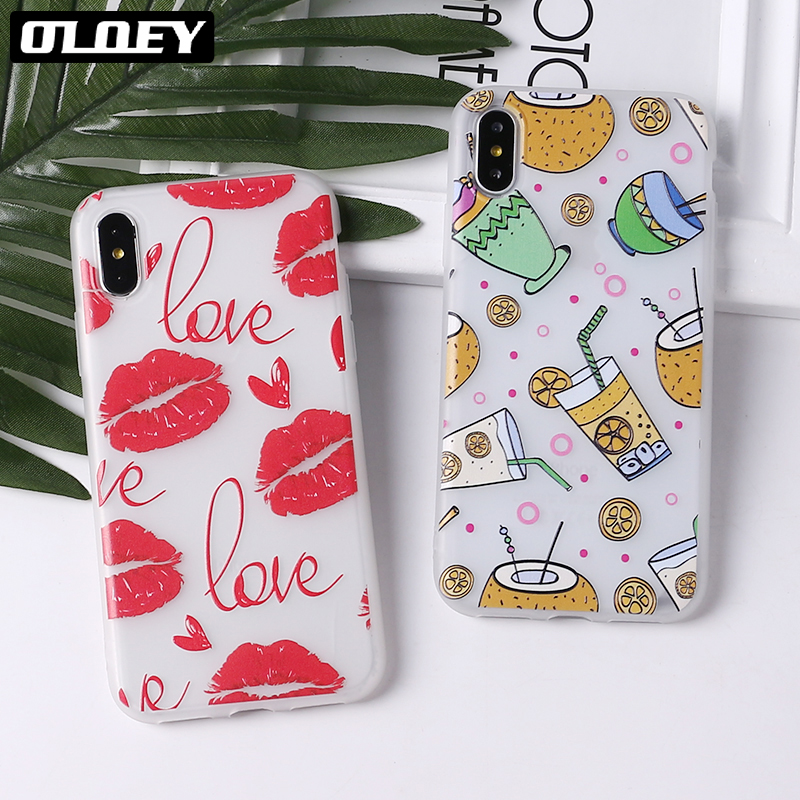 OLOEY Cute Puppy Pug Grils Red lips Heart Soft Matte Phone Case Coque Funda For iPhone7Plus 6 6S 6Plus 8 8plus X
