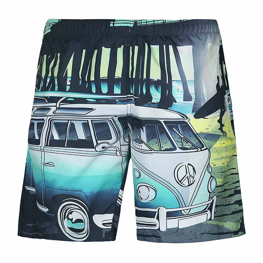 Summer Men's Board Shorts Bathing Swimsuit Cartoon Bus Funny Casual Quick Dry Beach Short Hip Hop Sexy Liner Sungs Swimwear Mesh