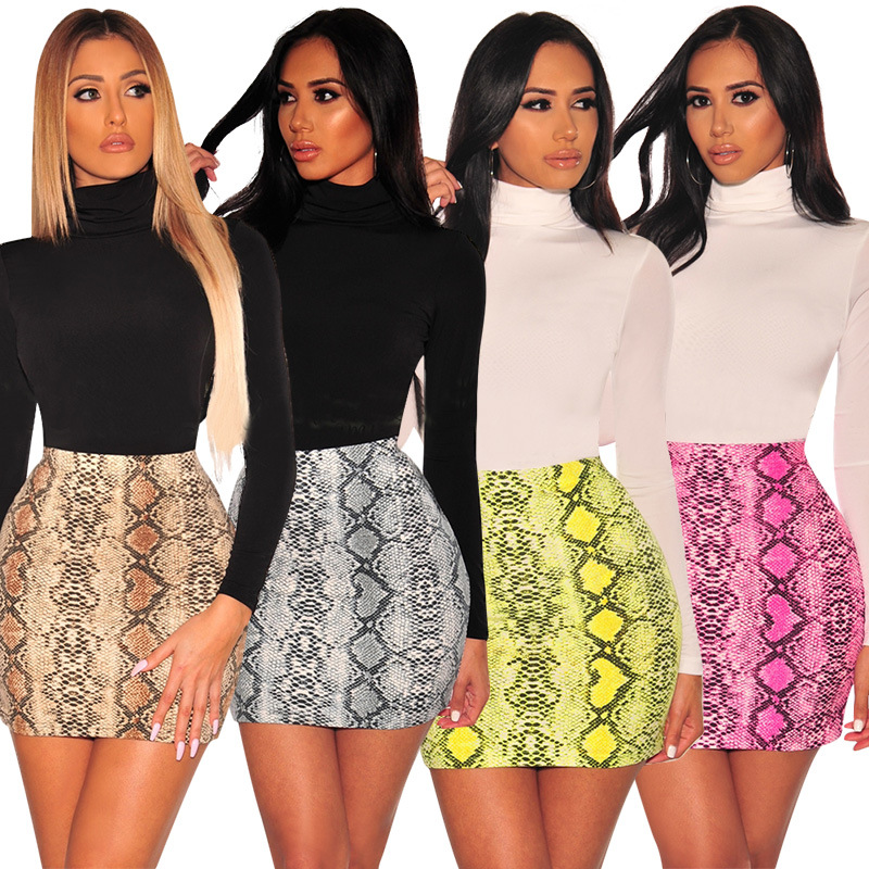 Sexy Women Snake Print Skirt Summer High Waist Mini Skirt Short Pencil Bodycon Femme Slim Package Hip Plus Size 2019-in Skirts from Women's Clothing