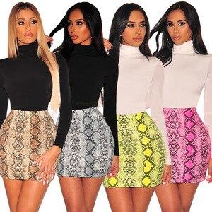 Image 1 - Sexy Women Snake Print Skirt Summer High Waist Mini Skirt Short Pencil Bodycon Femme Slim Package Hip Plus Size 2019