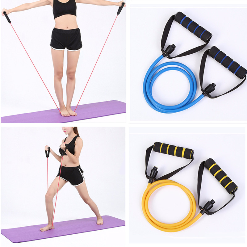 120cm Yoga Fitness Resistance Bands strech Pull Rope Exercise Tubes gym handle Training Elastic Band Rope Yoga Workout equipment the military version military regulations suspended fitness training pull rope fitness band txr
