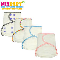 Miababy 6pcs Lot Onesize Bamboo Cotton Fitted Diaper For Heavy Wetter Baby AIO AI2 Diaper Fit