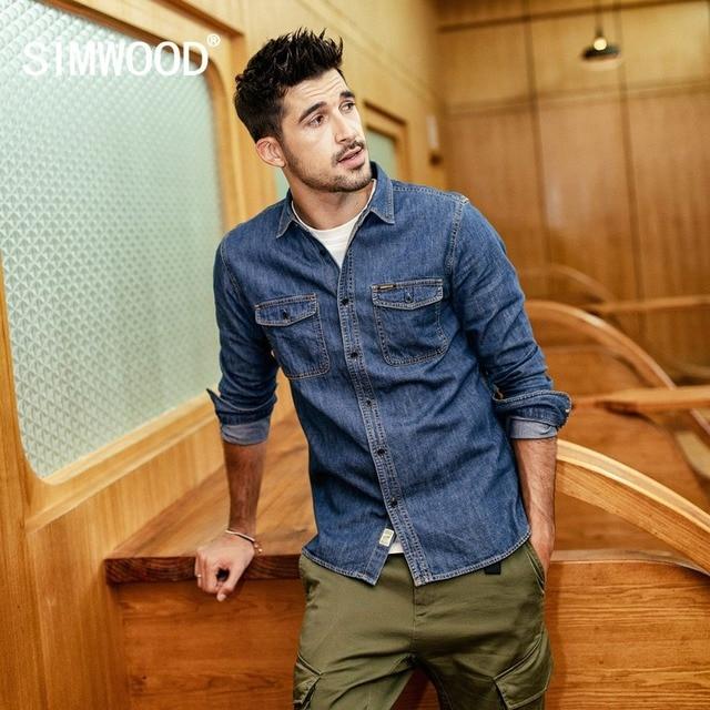 SIMWOOD 2019 Casual Shirts Men Fashion Brand 100% Cotton Long Sleeve Casual Men Shirts Denim Shirt chemise homme 190076