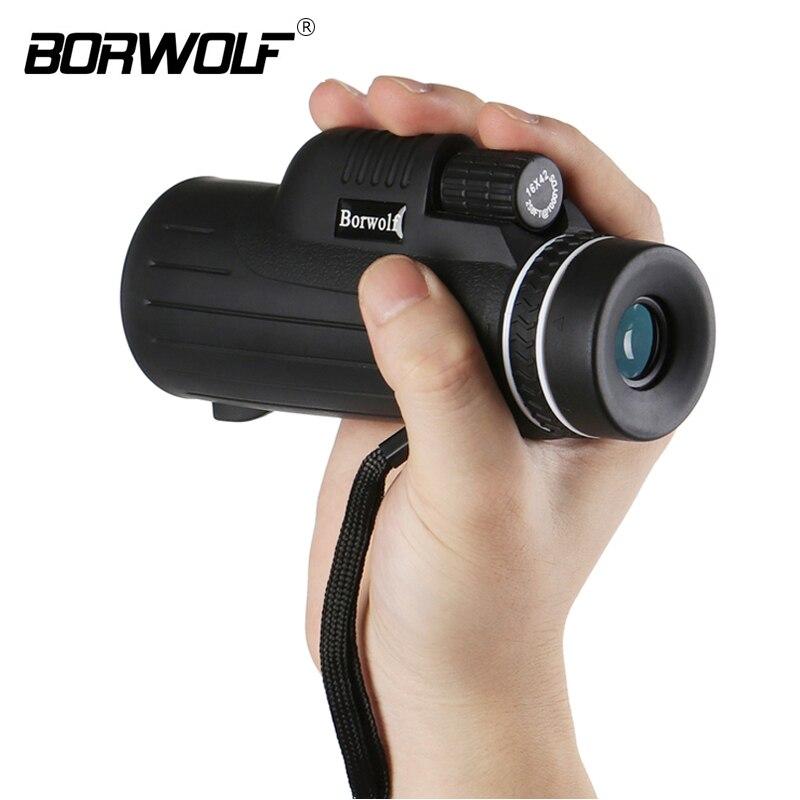 Borwolf Портативный охоты 16x42 Водонепроницаемый BAK4 Ночное видение HD Нескользящие Увеличить Монокуляр