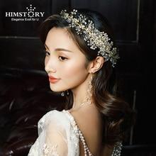 HIMSTORY Handmade Long Hair comb brides Rhinestone Pearl copper Wire Sweet Luxury Wedding Comb Bride Headdress Hairwear