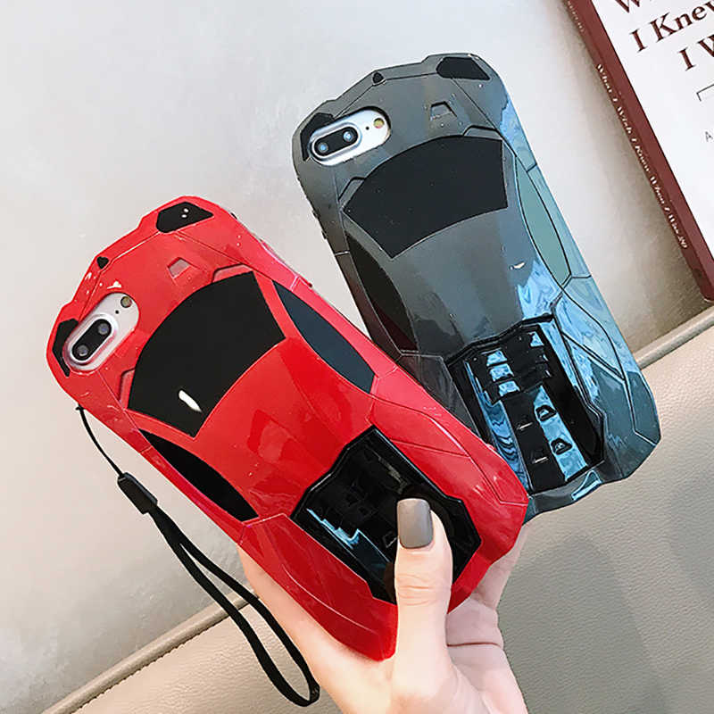 Caso de telefone para o iphone x 10 xs 6s 7 8 legal 3d esportes carro pc stands titular capa traseira para o iphone 6s 7 8 mais corridas carro casos