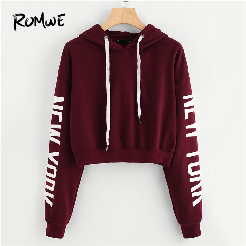 romwe fashion women sweatshirt autumn hoodies crop coat