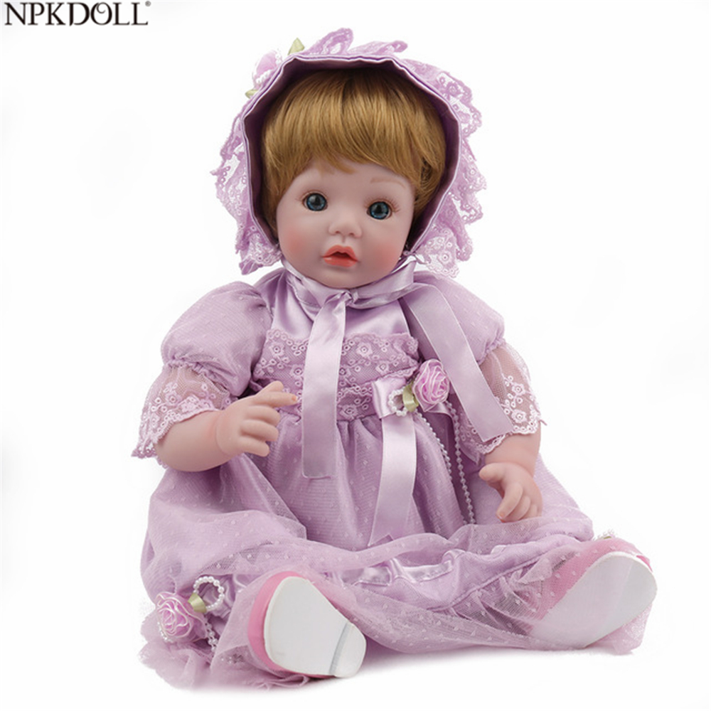 NPKDOLL Reborn Doll Baby Vinyl Body 18 inch 45 CM Doll Toys For Girl Boy Soft Silicone Birthday Gift Lifelike Pink Princess женские часы edox 57001 3gin