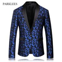 Royal Blue Printed Suit Jacket Men 2017 Brand New Casual Mens Blazers Slim Fit Wedding Men