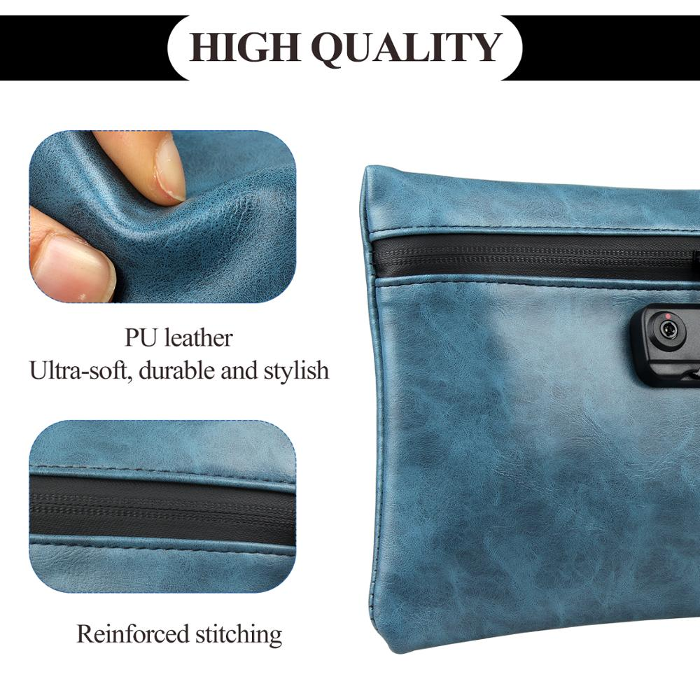Image 2 - Smoking Smell Proof Bag PU Leather Tobacco Pouch with Lock for Weed Herb Odor Proof Stash Container Case StorageTobacco Pipes & Accessories   -