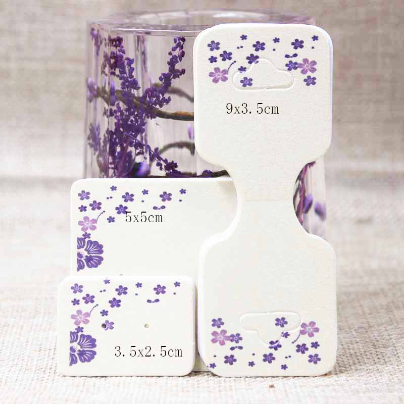 Zerong cute jewelry display card tat,purple/beigh flower print stud earring/bracelet/necklace products package card