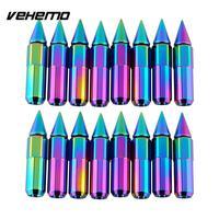 Vehemo Hot Car 16 cái 24 K NEO Chrome Spiked Nhôm 90 MÉT Mở Rộng Tuner Lug Nuts Đối Wheels Rims lốp Lốp 12X1.5 MÉT