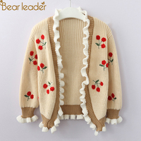 Bear Leader Girls Sweaters 2018 New Autumn Ruffles Flare Sleeve Kids Sweaters Cherry Open Stitch For