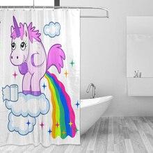 Lovely Cartoon Unicorn Shower Curtain Smiling Animal Poop A Rainbow Waterproof Fabric Bathroom Curtains Mildew Resistant