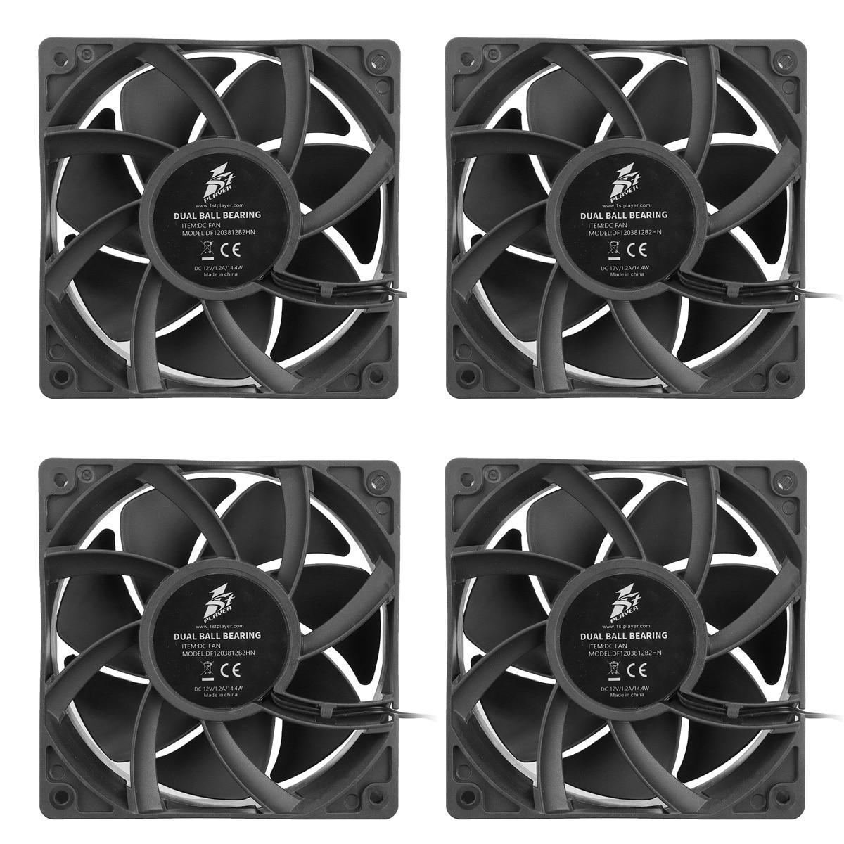 4 pc 12 V 12 cm 4000 RPM 4PIN ventilateur de refroidissement pour l'exploitation minière Bitcoin refroidissant un ventilateur Violent avant et après le boîtier minier
