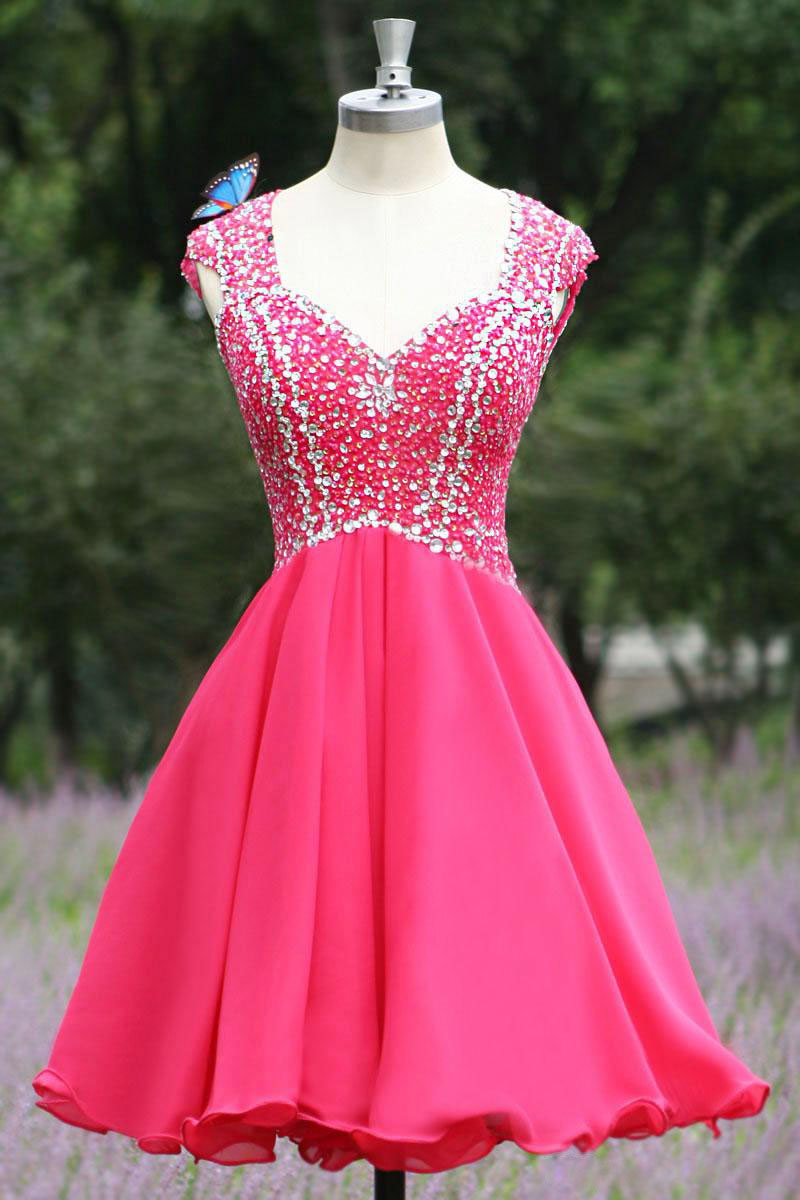 real hot pink short prom dresses beaded sequins chiffon homecoming dress custom made dress for graduation online clothing