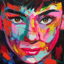 Francoise Nielly Knife Abstract Portrait Audrey Hepburn Face hand painted Oil Painting on canvas Figure Wall Pictures Home Decor
