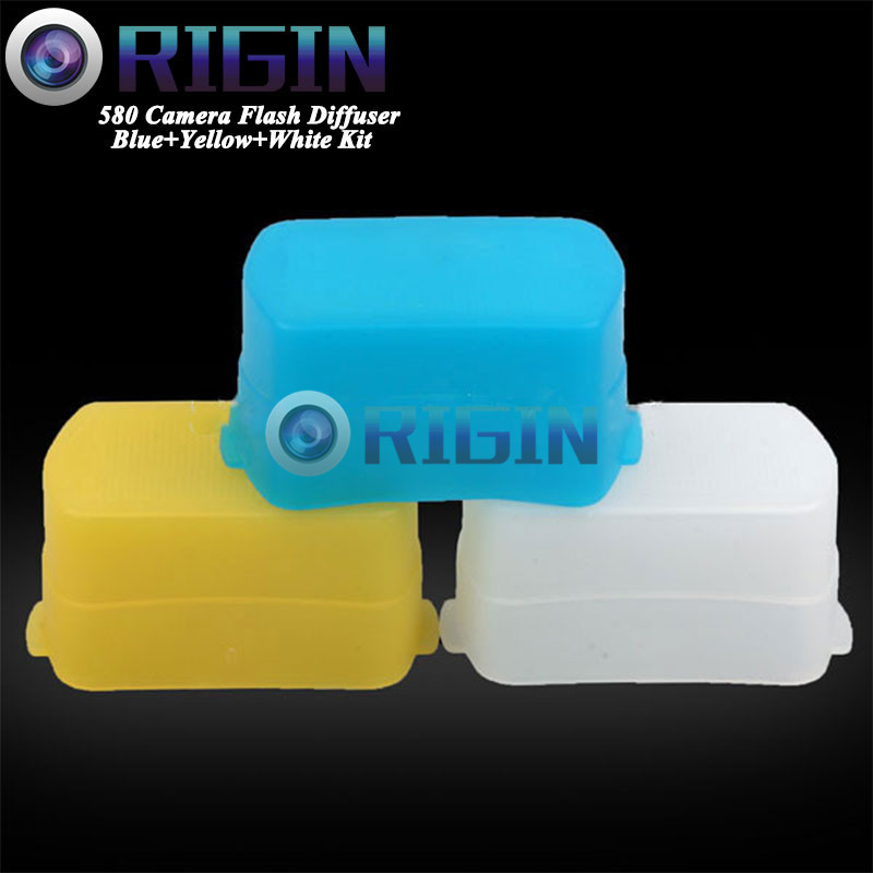 580EX 3 color White blue yellow Kit Camera flash diffuser soft mask For Canon 580EX YN560II