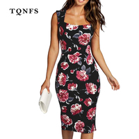 TQNFS 2017 New Summer Style Bodycon Dresses Vintage Ladies Sexy Fitness Floral Print Sleeveless O Neck