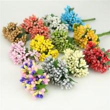 Искусственные цветы 12 шт./лот, маленькие ягоды, тычинки, стебель из проволоки/свадебные листья, венок «сделай сам», Свадебная коробка для скр...