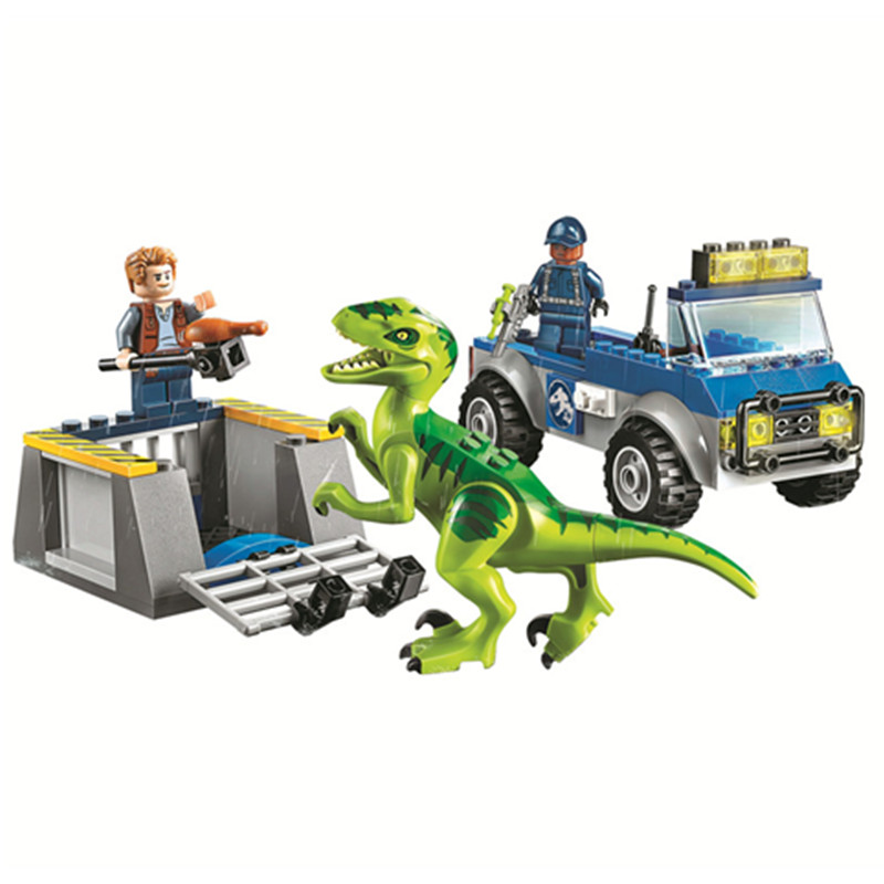 2018 New Jurassic World 2 Raptor Rescue Truck Building Block Bricks Toys Compatible Legoings Jurassic Park Dinosaur 10757 bela 10919 raptor rescue truck jurassic dinosaur world bricks building block toys compatible with legoings juniors 10757