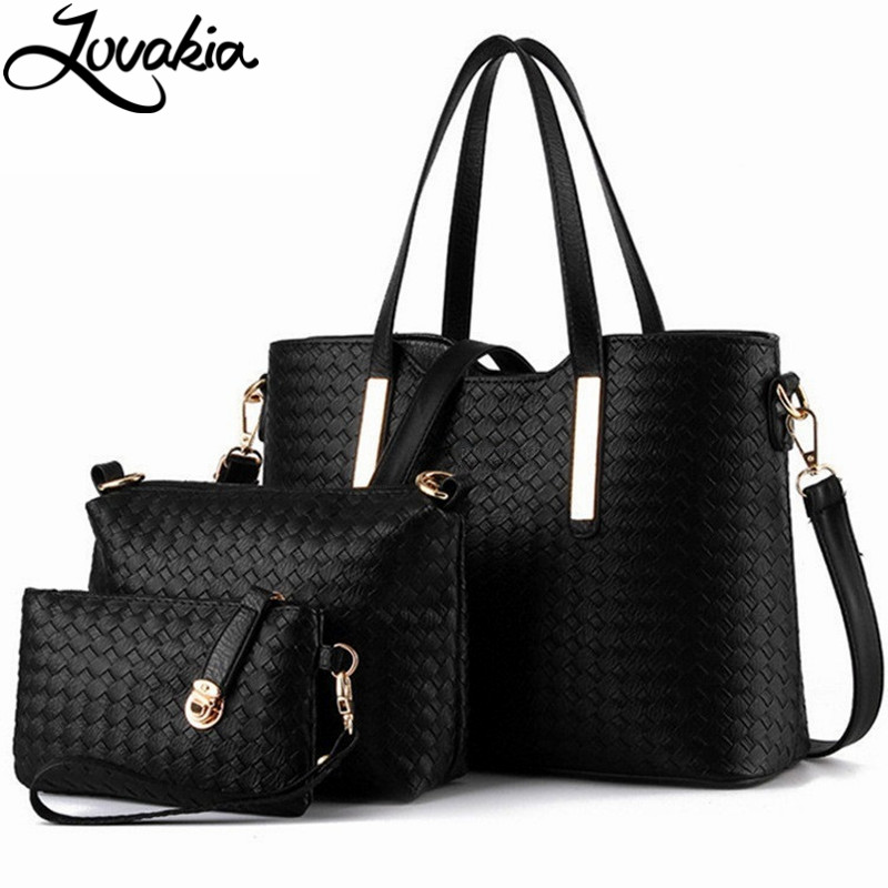 3pcs font b Set b font Luxury Knitting Leather Bags Women Famous Brands Designer Casual Totes