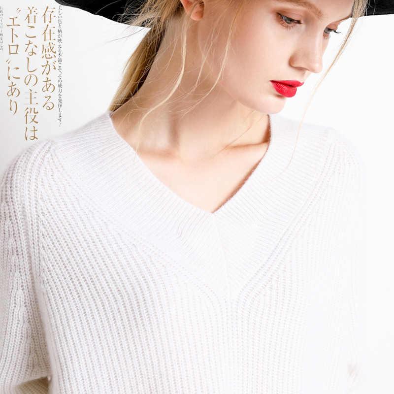 19New jersey de moda para mujer suéter de punto con cuello en v suéter suelto de Cachemira para mujer suéteres de Invierno para mujer tendencia
