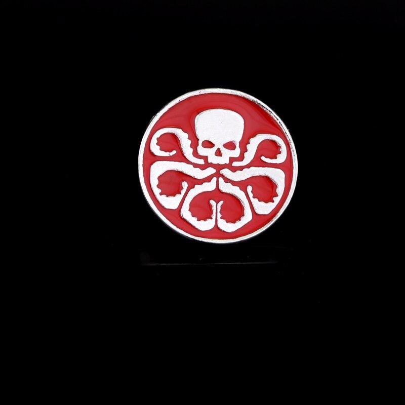 Agenten Der Schild S.h.i.e.l.d. Hagel Hydra Brosche Rot Schädel Metall Emaille Broschen Für Womenround Pins Mode Cosplay Zubehör