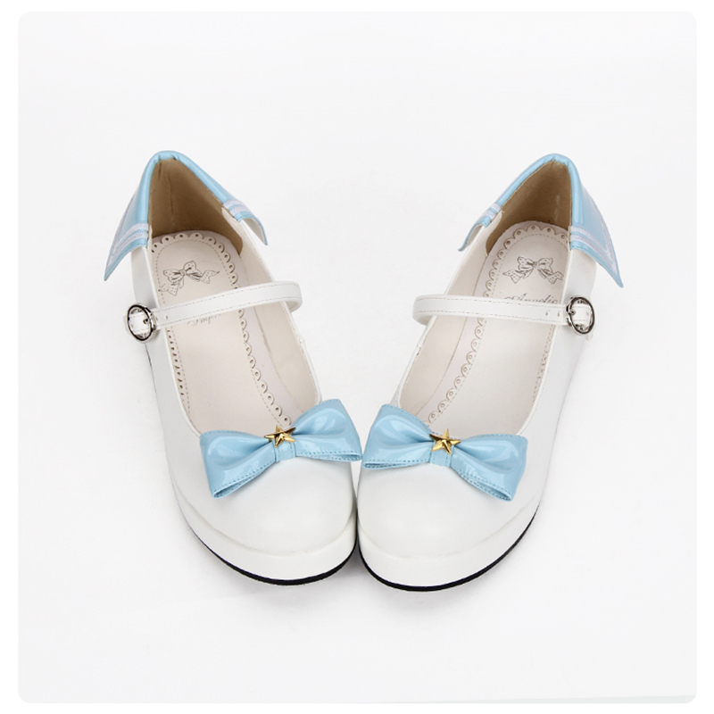 ญี่ปุ่น Navy Blue และสีขาวกะลาสี Lolita แพลตฟอร์มรองเท้าสีแดง Bow PU หนังรอบ Toe รองเท้า Mary Jane-ใน รองเท้าส้นสูงสตรี จาก รองเท้า บน   2