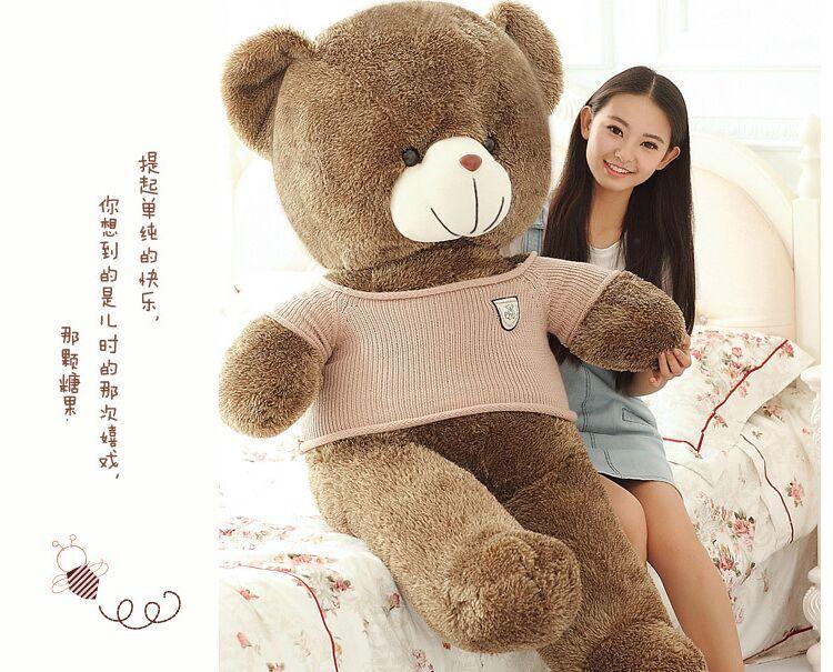 huge 160cm brown teddy bear plush toy dressed khaki coat bear doll soft hug pillow Valentine