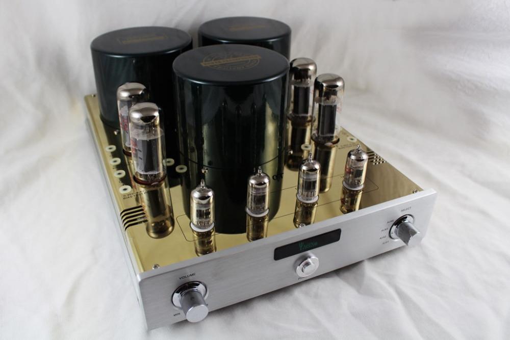 YAQIN MC-10T MC10T  EL34 Vacuum Tube Push Pull Integrated Amplifier HIFI lamp amp with 12AX7 pre-amp music hall latest 12ax7 vacuum tube pre amplifier hifi stereo valve pre amp audio processor pure handmade