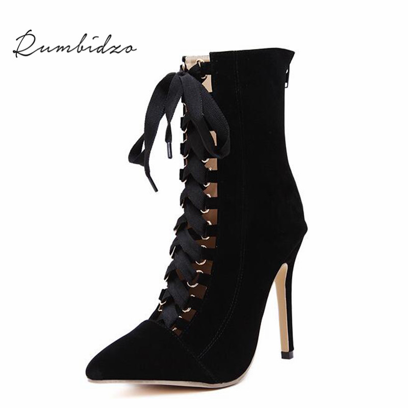 Rumbidzo Fashion High Heels Pumps Women Shoes Lace up High Heels Wedding Shoes Pumps Black Nude
