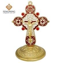 Новые католические кресты и Распятие Иисуса Металлические ремесла религиозный крест символы греческой ортодоксальной иконы Христианский подарок на крестины