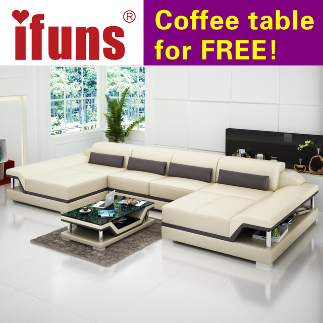IFUNS U Shaped Black Couch Cheap Modern Design Sectional Sofa Corner Quality Leather Luxury Sets