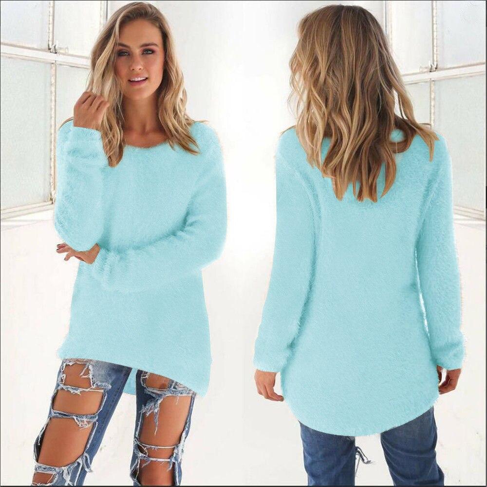 Nouveau mode femmes chandail automne hiver tricoté Long chandail femmes solide à manches longues femmes Pull doux Pull Pull Femme