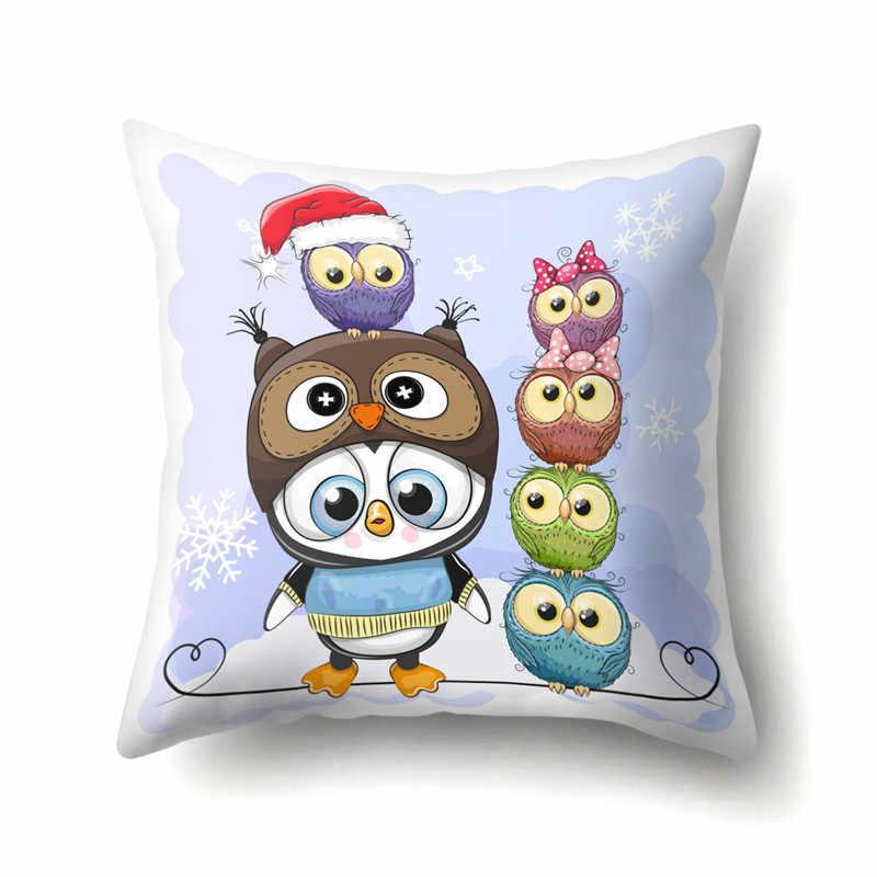 Наволочка на подушку с рождественскими животными, Наволочка на заднюю подушку, декоративные наволочки на подушку 45x45 см для дома, автомобиля, офиса, дивана