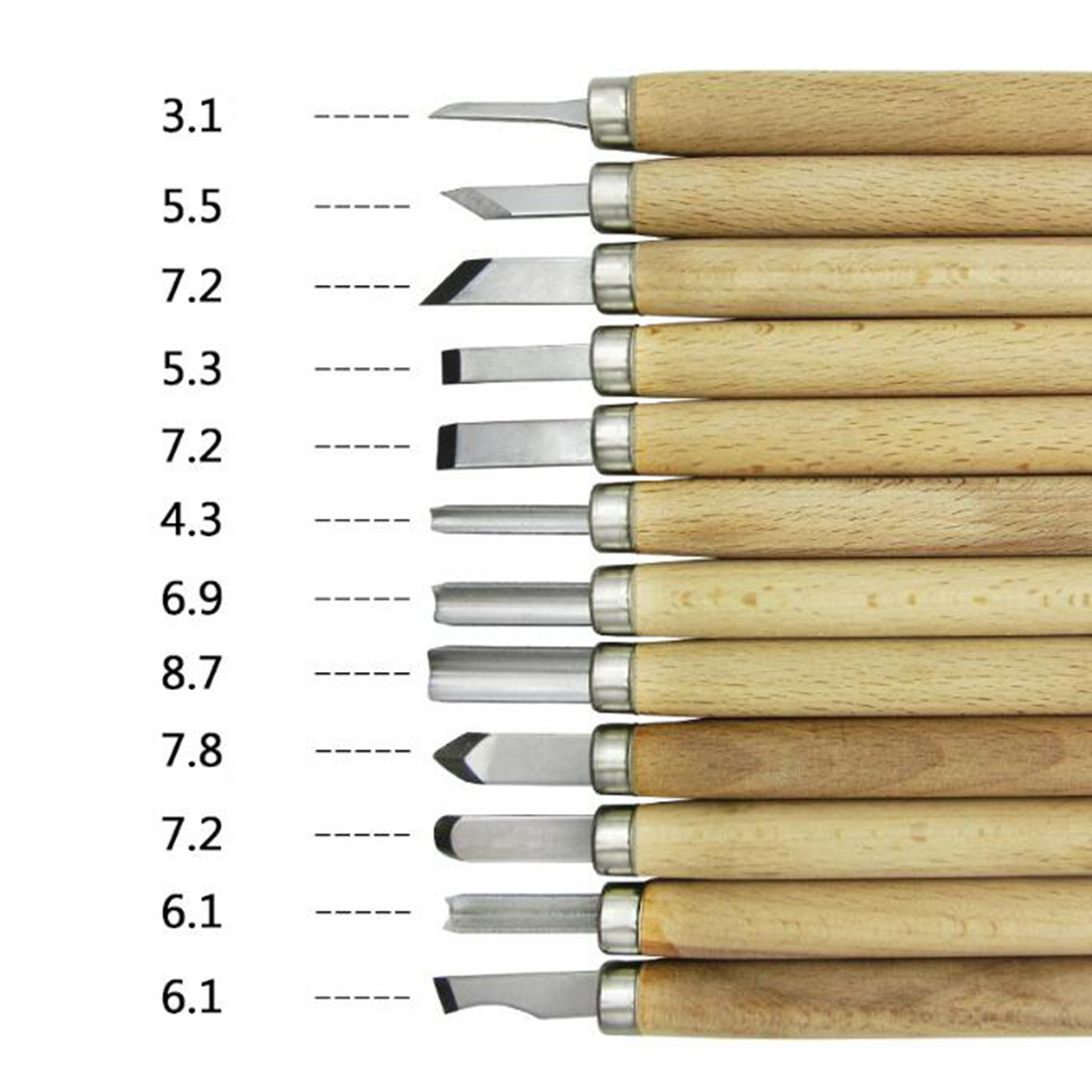 12pcs/set Hand Wood Carving Chisels Knife Tool for Basic Woodcut Working Clay Wax DIY Tools and Detailed Woodworking Hand Tools