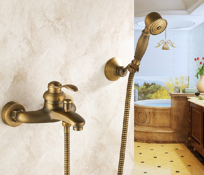 Antique Brass Wall Mounted Bathtub Faucet Mixer W/ Handheld Shower Spray new us free shipping simple style golden finish bathtub faucet mixer tap shower faucet w ceramics handheld shower wall mounted