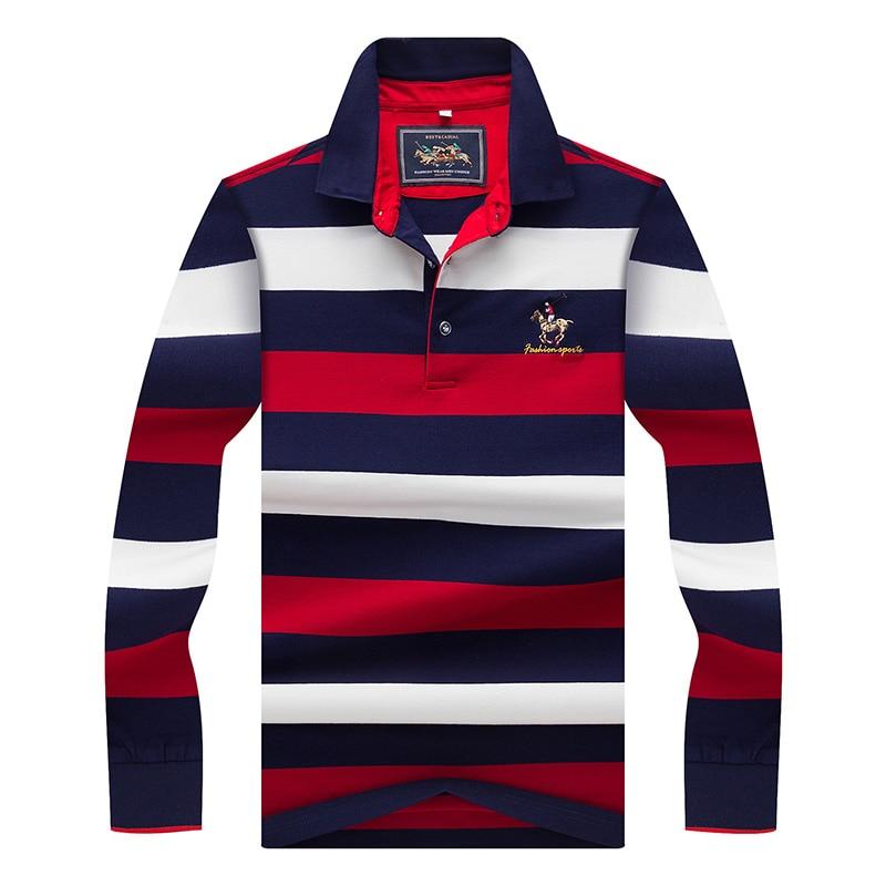 Original Brand Tace & Shark Polo Shirt Men Long Sleeve Embroidery Cotton Striped Polo Homme Smart Breathable Casual Men's Polo