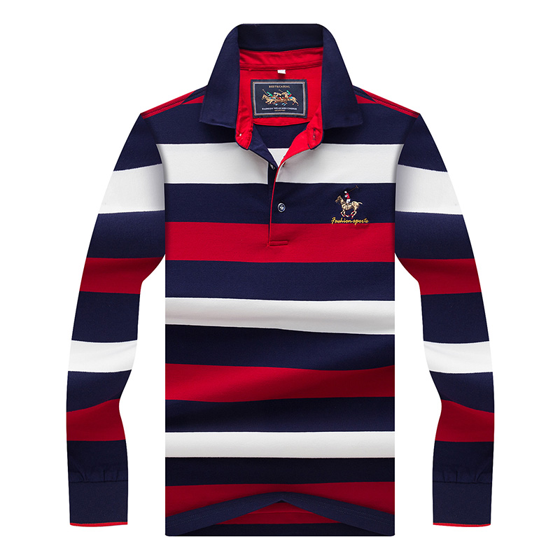 Original Brand Tace & Shark   Polo   Shirt Men Long Sleeve Embroidery Cotton Striped   Polo   Homme Smart Breathable Casual Men's   Polo