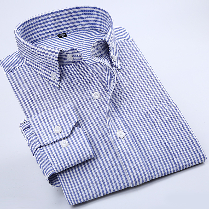2018 High Quality Easy Care Oxford  Solid Striped Long Sleeve Button Town Collar Slim Fit Classical Business Men's Dress Shirts
