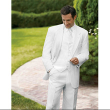 men suit 3 piece suits groom tuxedo white custom made suit tailor wedding formal wear 2016 high quality