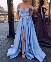 Blue Muslim Evening Dresses 2019 A-line V-neck Off The Shoulder Slit Sexy Islamic Dubai Saudi Arabic Long Elegant Evening Gown цена и фото