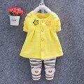 Bebê roupas de menina 2016 primavera moda bebê recém-nascido Floral vestuário Set 3 - 24 M algodão vestuário completa com calças do bebê roupas de menina