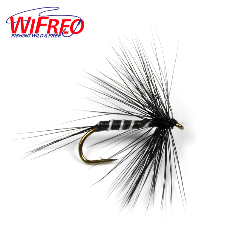 Wifreo 10PCS #10 Black Zebra Mosquito Fly Trout Fishing Dry Flies Fly Fishing Bait Lures wifreo 10pcs 10 black zebra mosquito fly trout fishing dry flies fly fishing bait lures