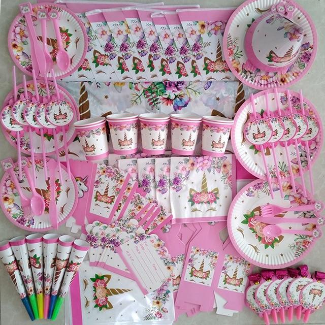 Единорог вечерние Наборы Радуга воздушные шары в форме единорога плиты салфетки под чашки для детей День рождения украшения детский душ гирлянды поставки