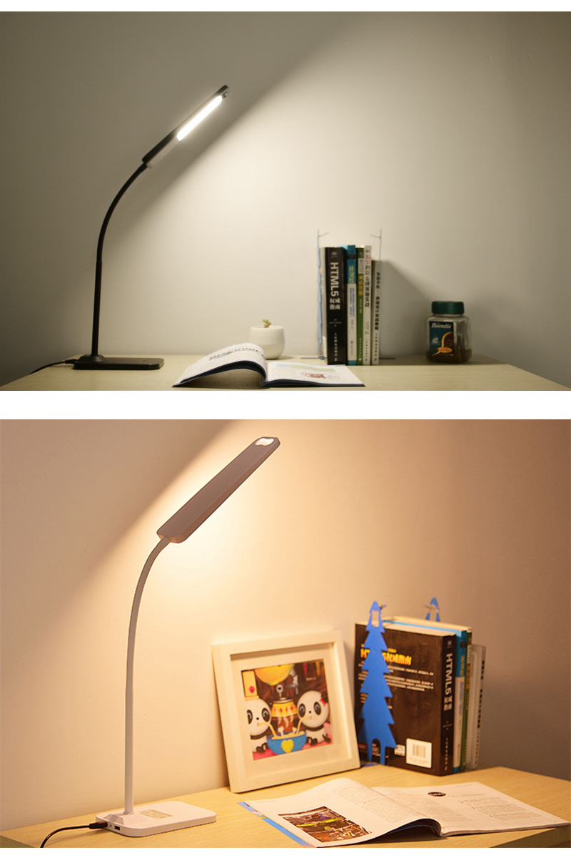 Folding Design LED Desk Lamp Dimmable Touch Control Table Lamp Office Light with USB Cha ...