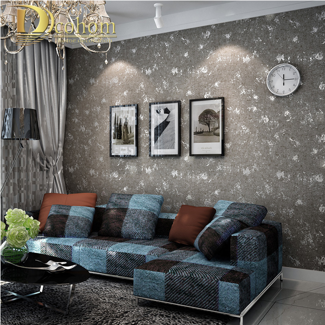 Grey Feature Wall Wallpaper Living Room Living Room